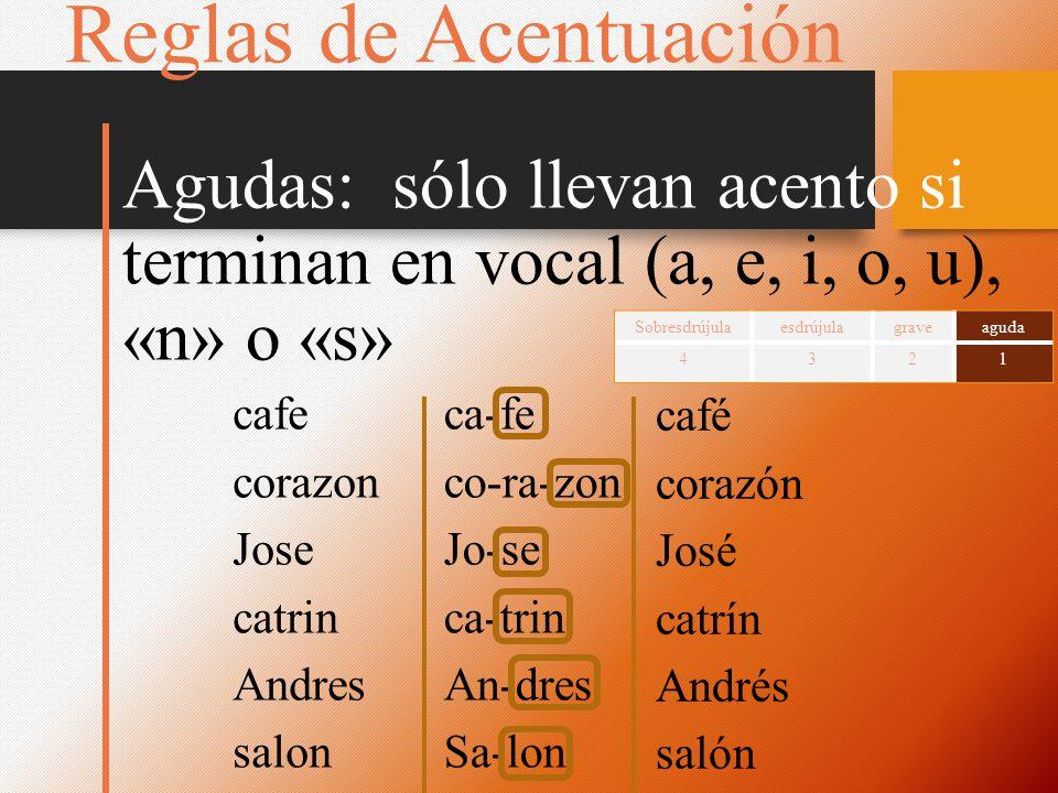 cafe corazon Jose catrin Andres salon ca-fe co-ra-zon Jo-se ca-trin An-dres Sa-lon café corazón José catrín Andrés salón Reglas de Acentuación Agudas: