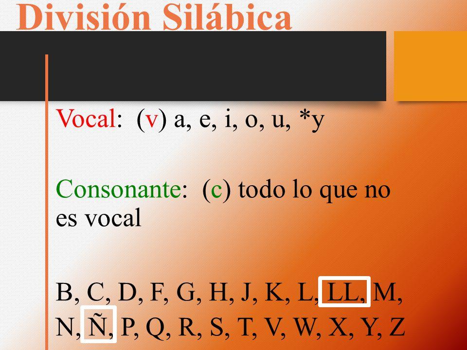 División Silábica Vocal: (v) a, e, i, o, u, *y Consonante: (c) todo lo que no es vocal B, C, D, F, G, H, J, K, L, LL, M, N, Ñ, P, Q, R, S, T, V, W, X, Y, Z