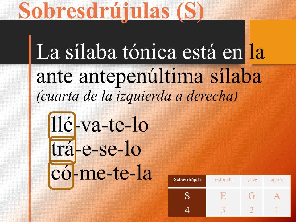 Sobresdrújulas (S) La sílaba tónica está en la ante antepenúltima sílaba (cuarta de la izquierda a derecha) llé-va-te-lo trá-e-se-lo có-me-te-la Sobre