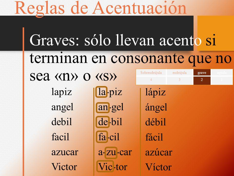 la-piz an-gel de-bil fa-cil a-zu-car Vic-tor Reglas de Acentuación Graves: sólo llevan acento si terminan en consonante que no sea «n» o «s» Sobresdrú