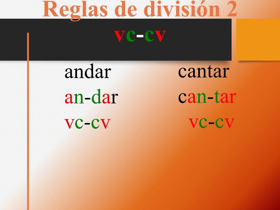 Reglas de división 2 vc-cv andar an-daran-dar vc-cvvc-cv cantar can-tar vc-cv
