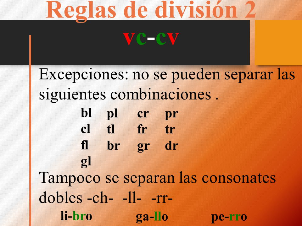 Reglas de división 2 vc-cv Excepciones: no se pueden separar las siguientes combinaciones. bl cl fl gl pl tl br cr fr gr pr tr dr Tampoco se separan l