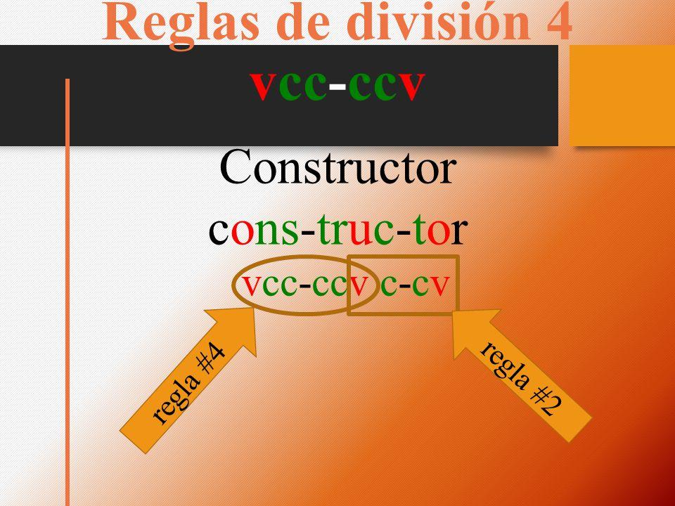 Reglas de división 4 vcc-ccv Constructor cons-truc-tor vcc-ccv c-cv regla #4 regla #2
