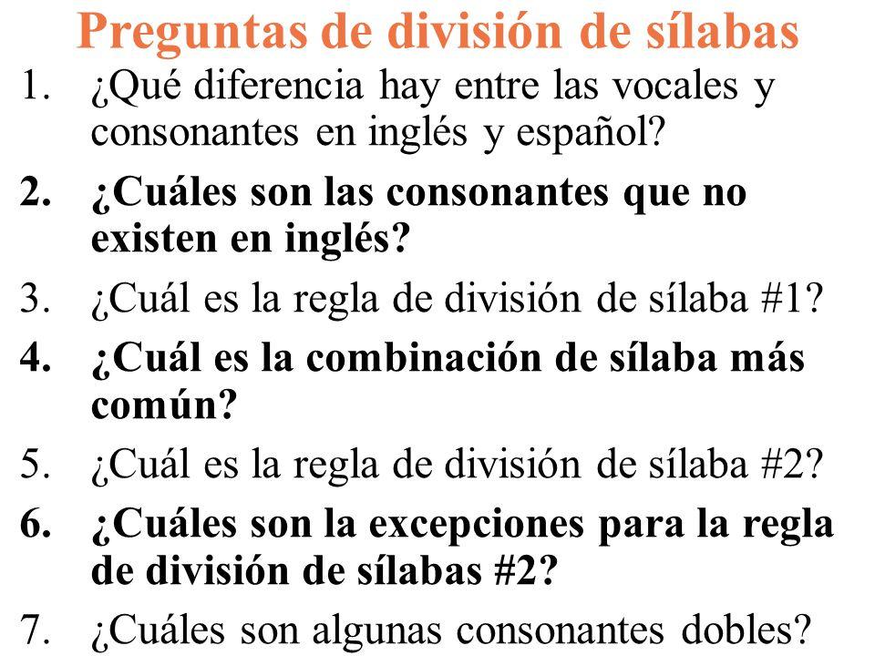 Preguntas de división de sílabas 1.¿Qué diferencia hay entre las vocales y consonantes en inglés y español? 2.¿Cuáles son las consonantes que no exist