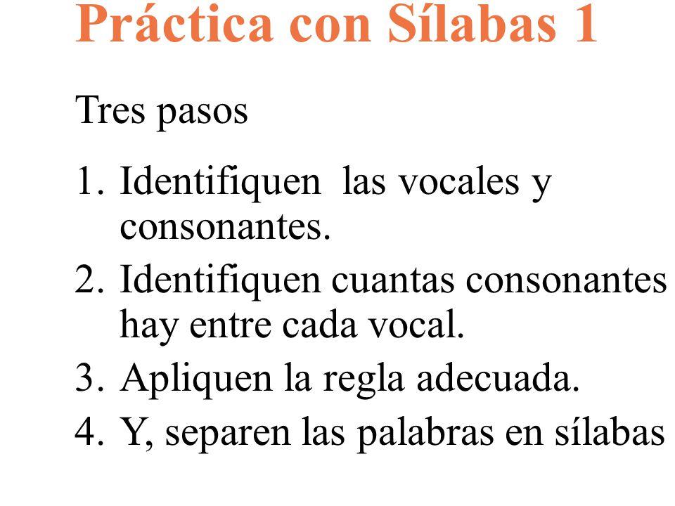 Práctica con Sílabas 1 Tres pasos 1.Identifiquen las vocales y consonantes. 2.Identifiquen cuantas consonantes hay entre cada vocal. 3.Apliquen la reg