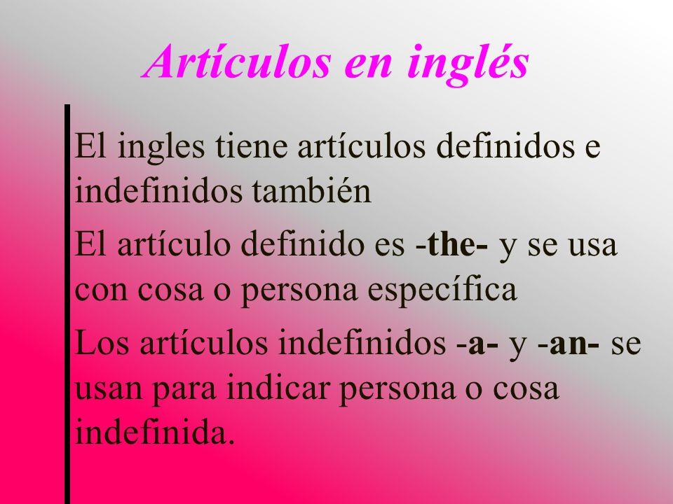 El ingles tiene artículos definidos e indefinidos también El artículo definido es -the- y se usa con cosa o persona específica Los artículos indefinidos -a- y -an- se usan para indicar persona o cosa indefinida.