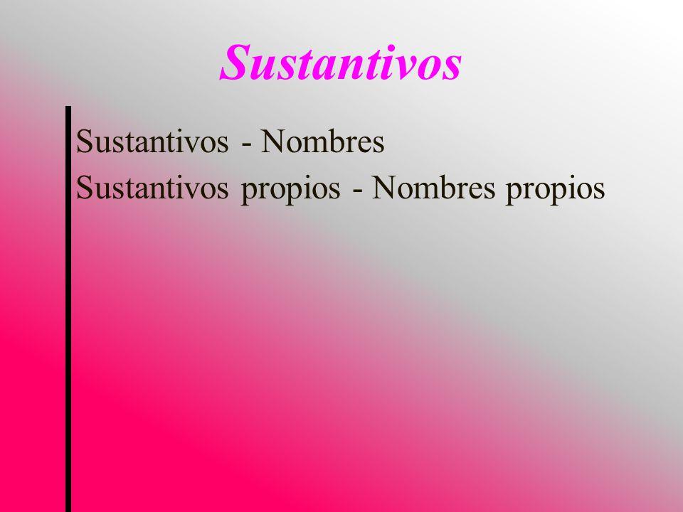 Sustantivos Sustantivos - Nombres Sustantivos propios - Nombres propios