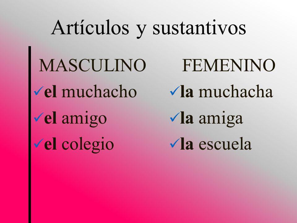 MASCULINO el muchacho el amigo el colegio FEMENINO la muchacha la amiga la escuela