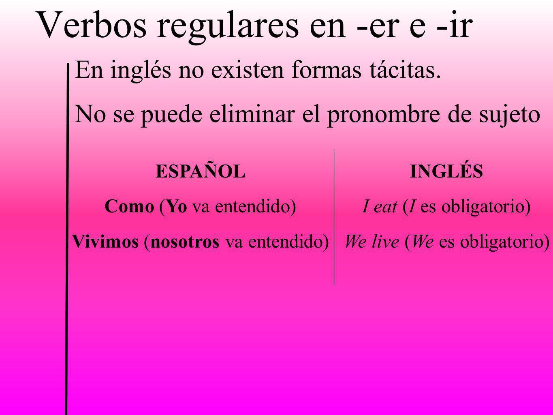 Verbos regulares en -er e -ir En inglés no existen formas tácitas. No se puede eliminar el pronombre de sujeto ESPAÑOL Como (Yo va entendido) Vivimos