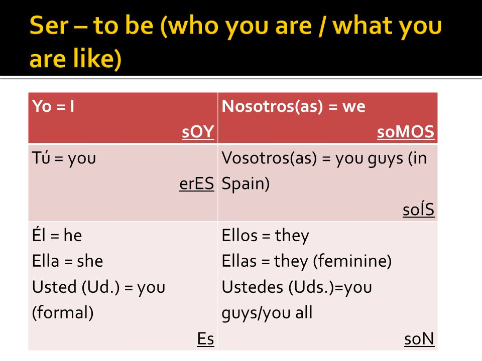 Yo = I sOY Nosotros(as) = we soMOS Tú = you erES Vosotros(as) = you guys (in Spain) soÍS Él = he Ella = she Usted (Ud.) = you (formal) Es Ellos = they Ellas = they (feminine) Ustedes (Uds.)=you guys/you all soN
