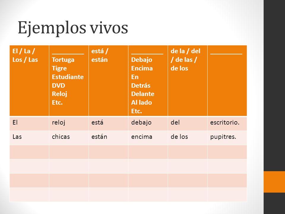 Ejemplos vivos El / La / Los / Las _________ Tortuga Tigre Estudiante DVD Reloj Etc. está / están _________ Debajo Encima En Detrás Delante Al lado Et