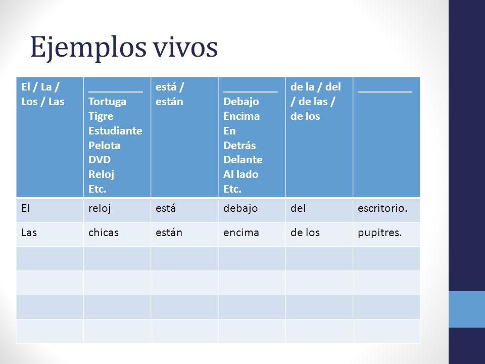 Ejemplos vivos El / La / Los / Las _________ Tortuga Tigre Estudiante Pelota DVD Reloj Etc. está / están _________ Debajo Encima En Detrás Delante Al