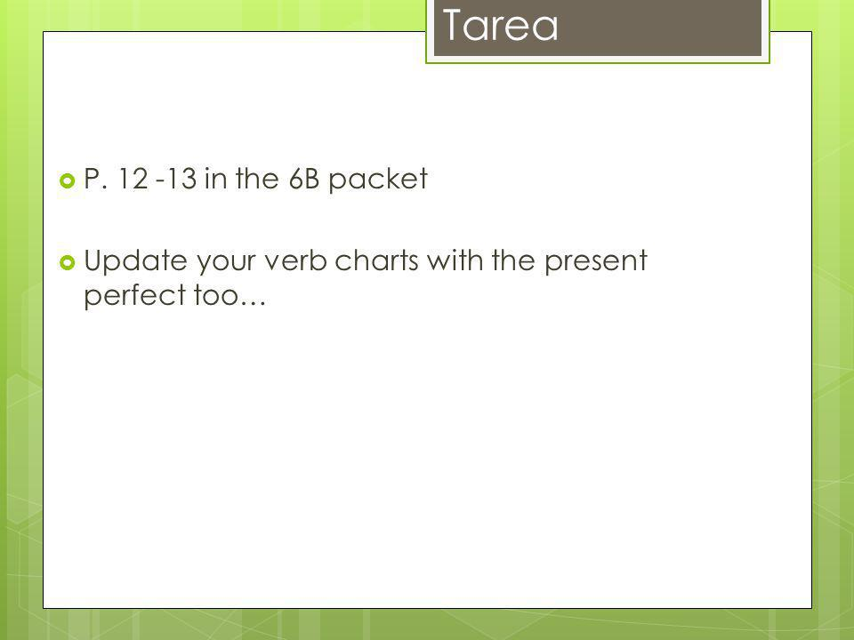 Tarea P. 12 -13 in the 6B packet Update your verb charts with the present perfect too…