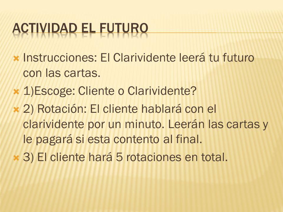 Instrucciones: El Clarividente leerá tu futuro con las cartas. 1)Escoge: Cliente o Clarividente? 2) Rotación: El cliente hablará con el clarividente p