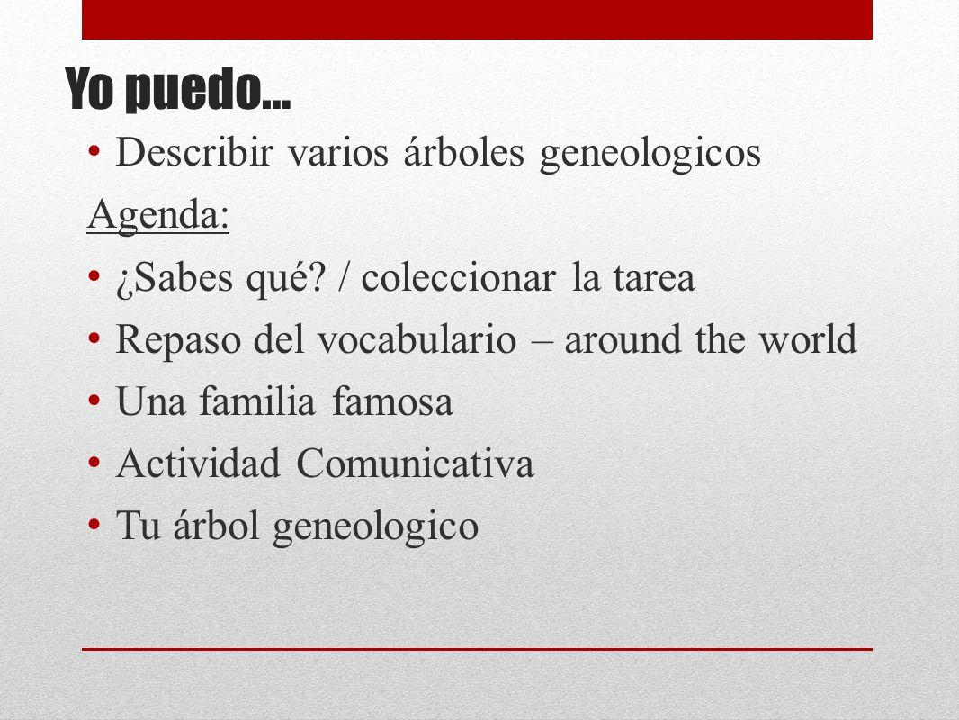Yo puedo… Describir varios árboles geneologicos Agenda: ¿Sabes qué.