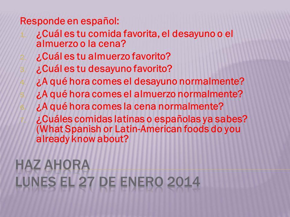Responde en español: 1. ¿Cuál es tu comida favorita, el desayuno o el almuerzo o la cena? 2. ¿Cuál es tu almuerzo favorito? 3. ¿Cuál es tu desayuno fa