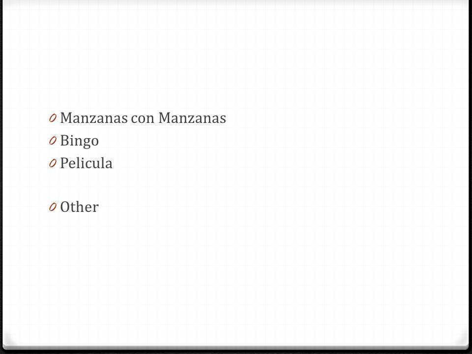 0 Manzanas con Manzanas 0 Bingo 0 Pelicula 0 Other