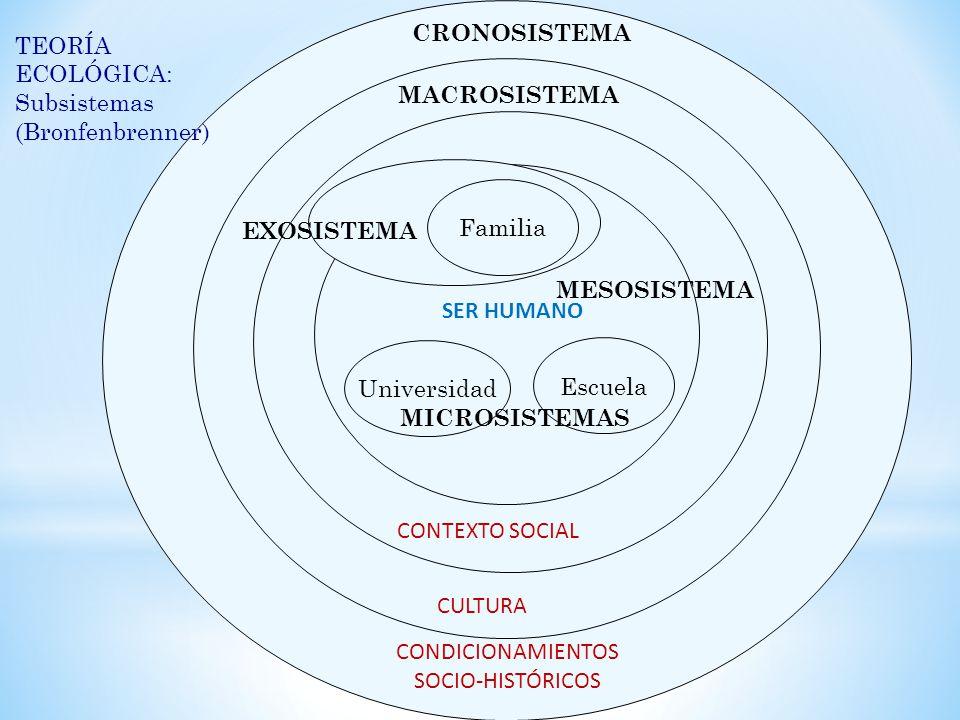 Escuela Universidad SER HUMANO CONTEXTO SOCIAL MACROSISTEMA CULTURA CRONOSISTEMA CONDICIONAMIENTOS SOCIO-HISTÓRICOS TEORÍA ECOLÓGICA: Subsistemas (Bronfenbrenner) Familia EXOSISTEMA MICROSISTEMAS MESOSISTEMA