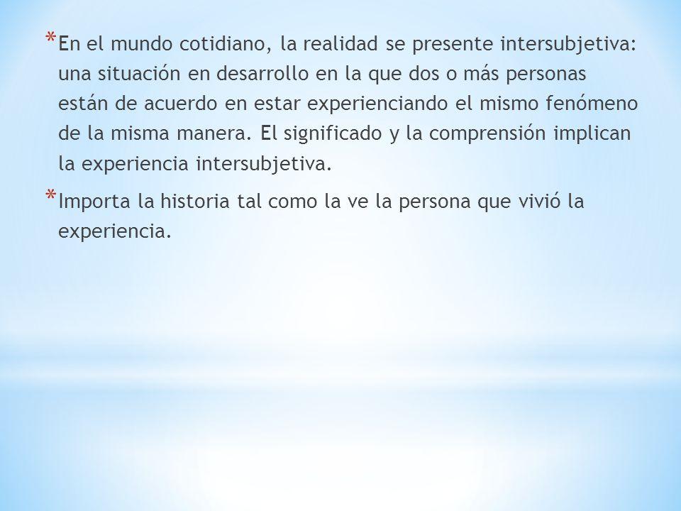 * En el mundo cotidiano, la realidad se presente intersubjetiva: una situación en desarrollo en la que dos o más personas están de acuerdo en estar experienciando el mismo fenómeno de la misma manera.