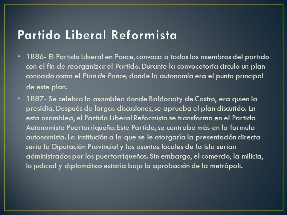 1886- El Partido Liberal en Ponce, convoca a todos los miembros del partido con el fin de reorganizar el Partido. Durante la convocatoria circulo un p