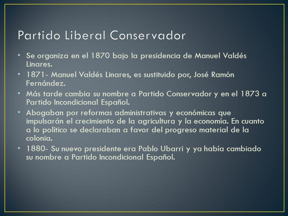 Se organiza en el 1870 bajo la presidencia de Manuel Valdés Linares. 1871- Manuel Valdés Linares, es sustituido por, José Ramón Fernández. Más tarde c