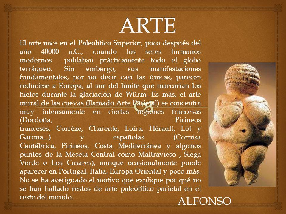 El arte nace en el Paleolítico Superior, poco después del año 40000 a.C., cuando los seres humanos modernos poblaban prácticamente todo el globo terrá