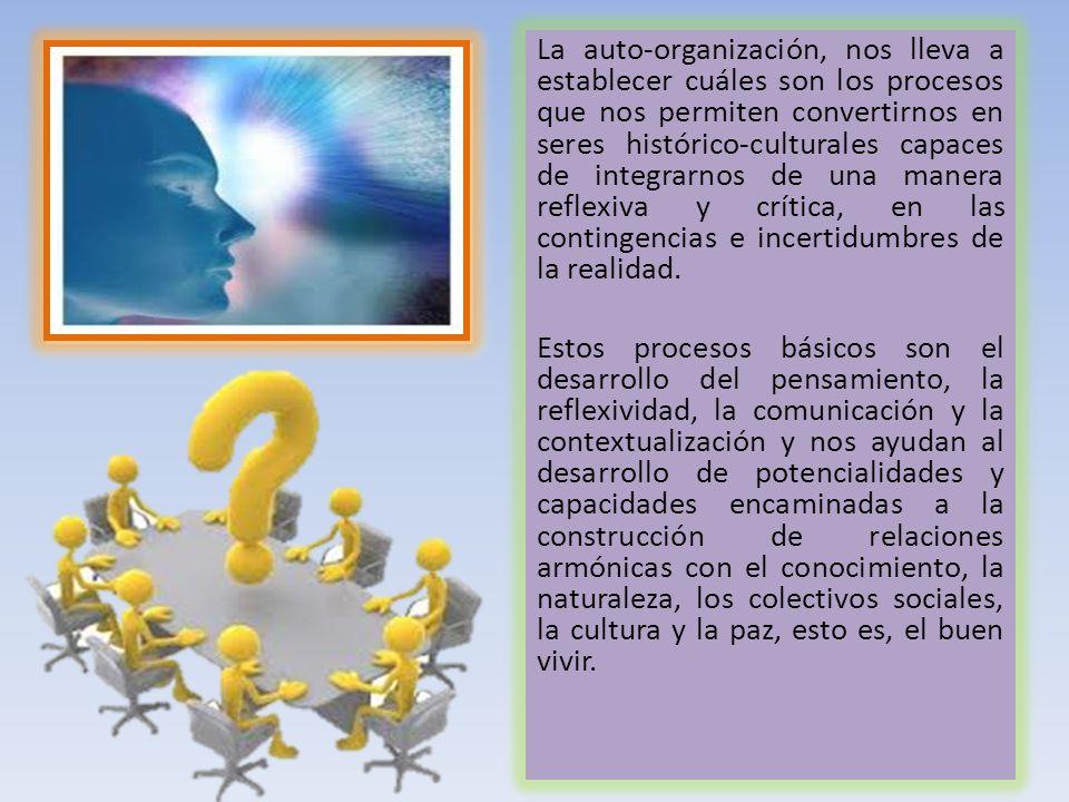 La auto-organización, nos lleva a establecer cuáles son los procesos que nos permiten convertirnos en seres histórico-culturales capaces de integrarno