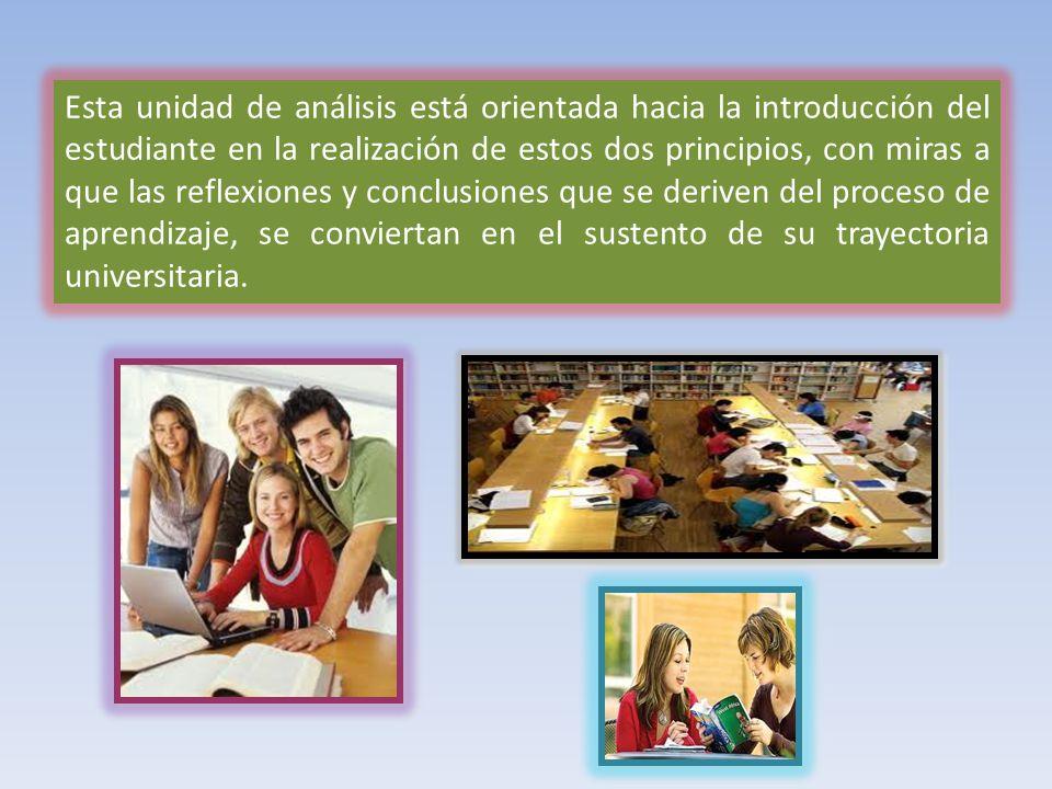 Esta unidad de análisis está orientada hacia la introducción del estudiante en la realización de estos dos principios, con miras a que las reflexiones