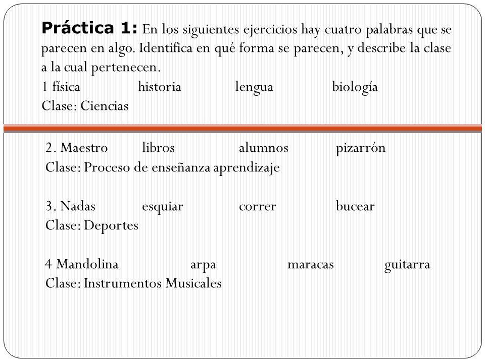 Práctica 1: En los siguientes ejercicios hay cuatro palabras que se parecen en algo. Identifica en qué forma se parecen, y describe la clase a la cual