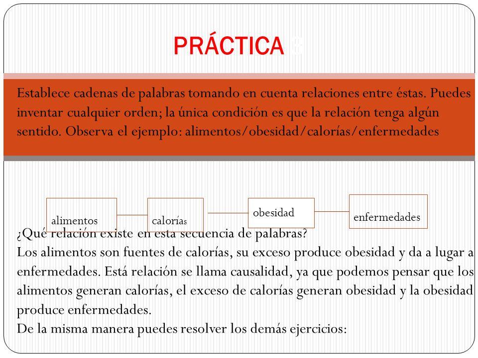 PRÁCTICA 3 Establece cadenas de palabras tomando en cuenta relaciones entre éstas. Puedes inventar cualquier orden; la única condición es que la relac