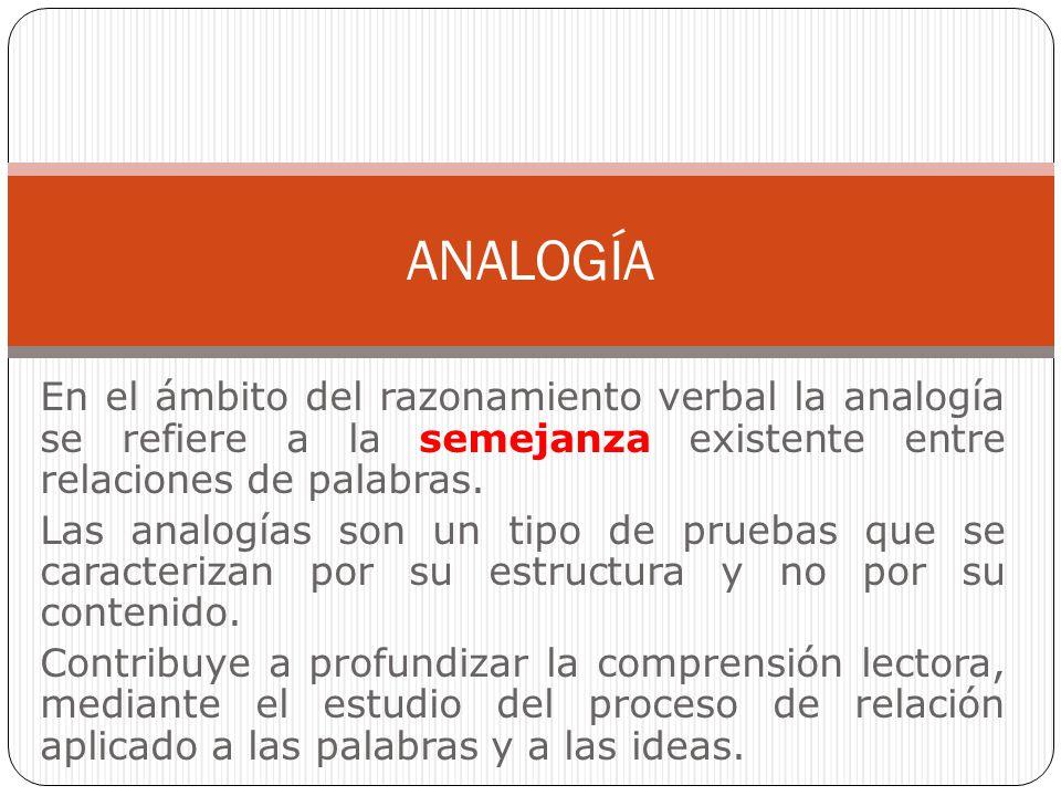 En el ámbito del razonamiento verbal la analogía se refiere a la semejanza existente entre relaciones de palabras. Las analogías son un tipo de prueba
