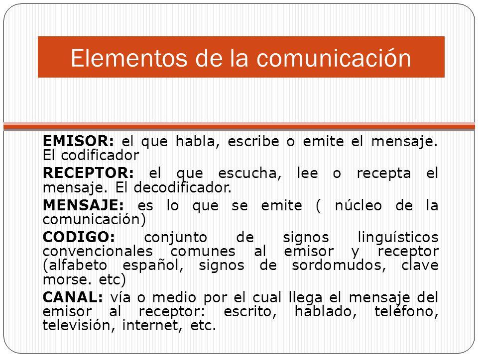 Elementos de la comunicación EMISOR: el que habla, escribe o emite el mensaje. El codificador RECEPTOR: el que escucha, lee o recepta el mensaje. El d