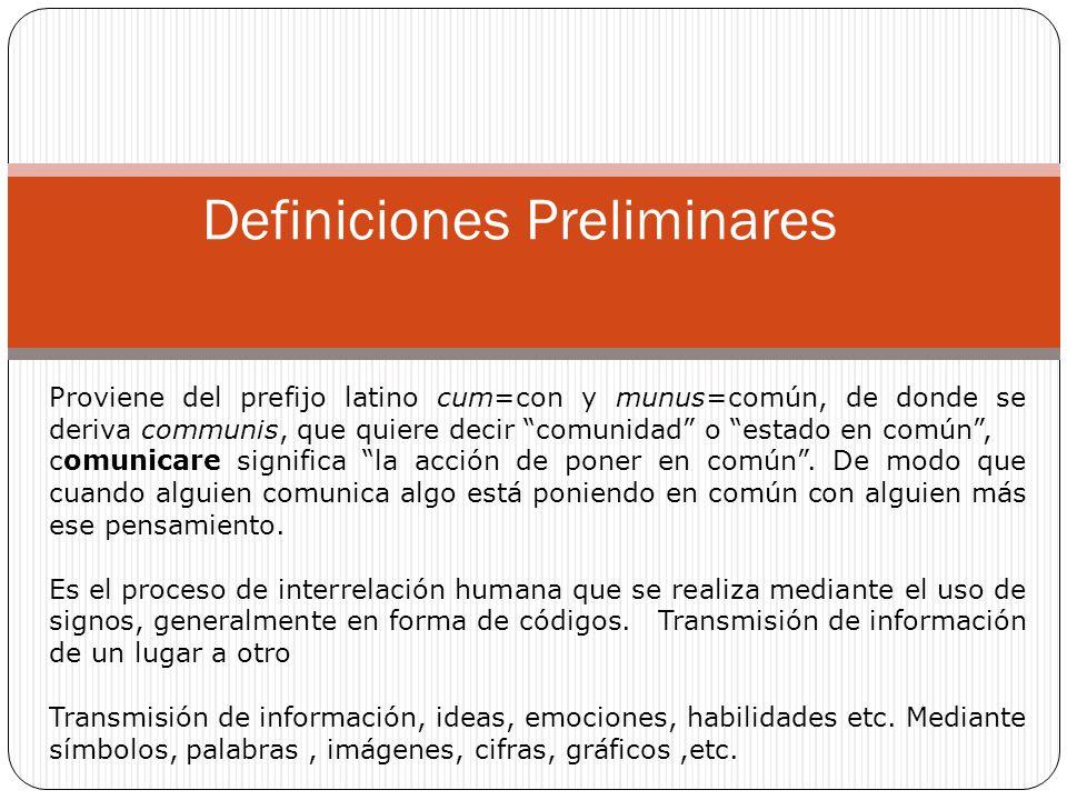 Definiciones Preliminares Proviene del prefijo latino cum=con y munus=común, de donde se deriva communis, que quiere decir comunidad o estado en común