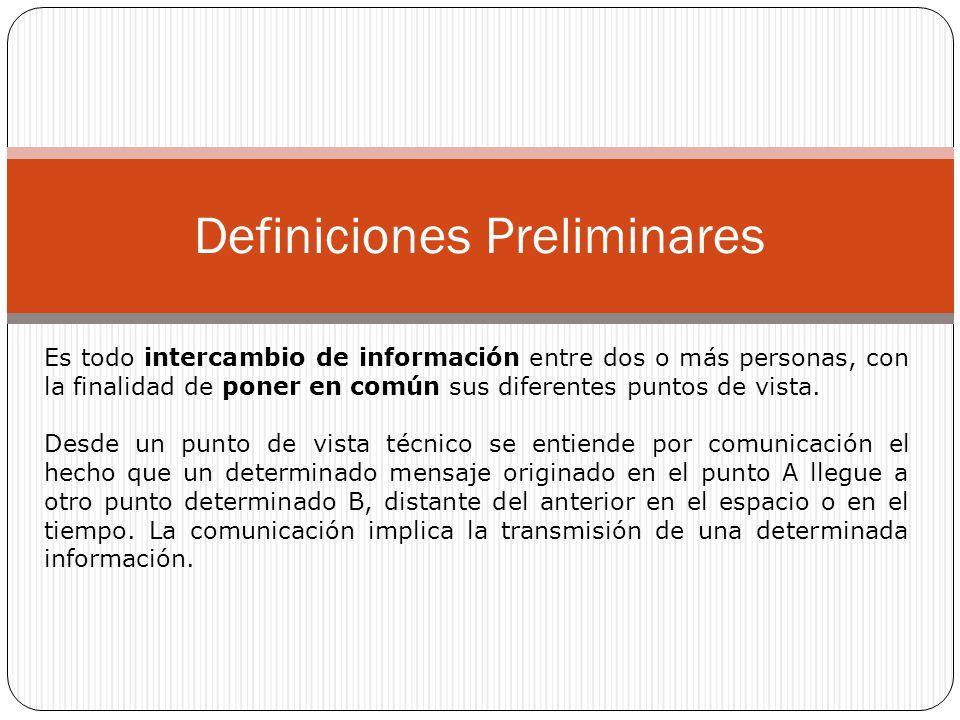 Definiciones Preliminares Es todo intercambio de información entre dos o más personas, con la finalidad de poner en común sus diferentes puntos de vis