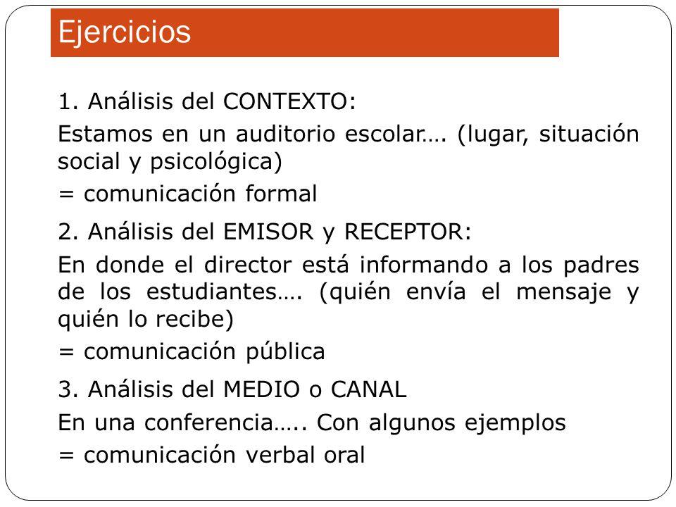 Ejercicios 1. Análisis del CONTEXTO: Estamos en un auditorio escolar…. (lugar, situación social y psicológica) = comunicación formal 2. Análisis del E
