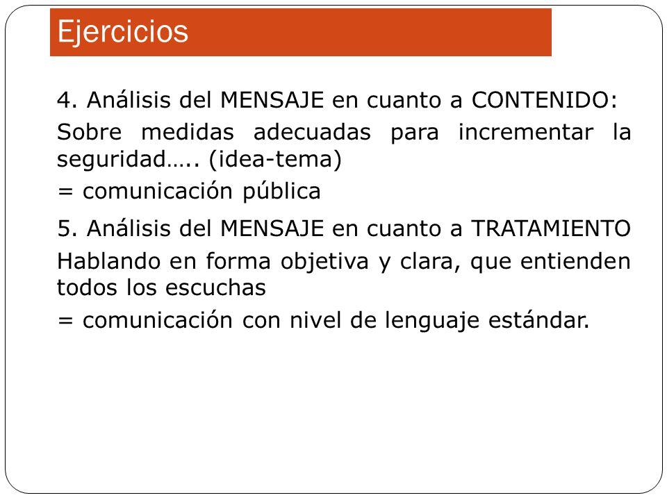 Ejercicios 4. Análisis del MENSAJE en cuanto a CONTENIDO: Sobre medidas adecuadas para incrementar la seguridad….. (idea-tema) = comunicación pública