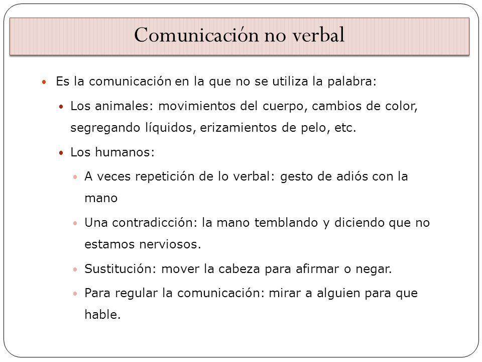 Comunicación no verbal Es la comunicación en la que no se utiliza la palabra: Los animales: movimientos del cuerpo, cambios de color, segregando líqui
