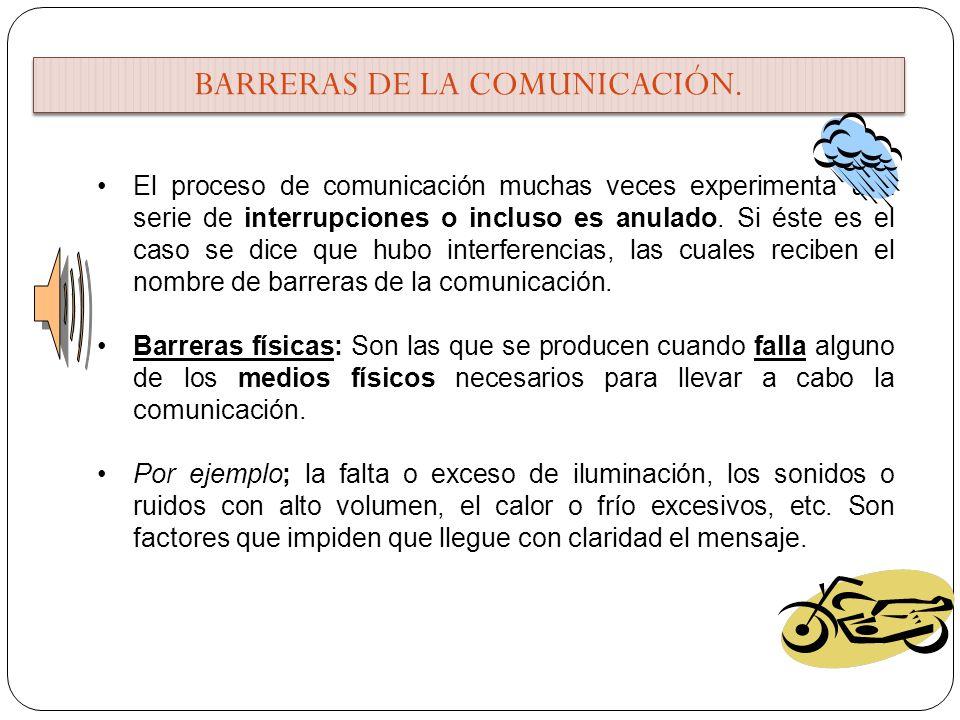 BARRERAS DE LA COMUNICACIÓN. El proceso de comunicación muchas veces experimenta una serie de interrupciones o incluso es anulado. Si éste es el caso