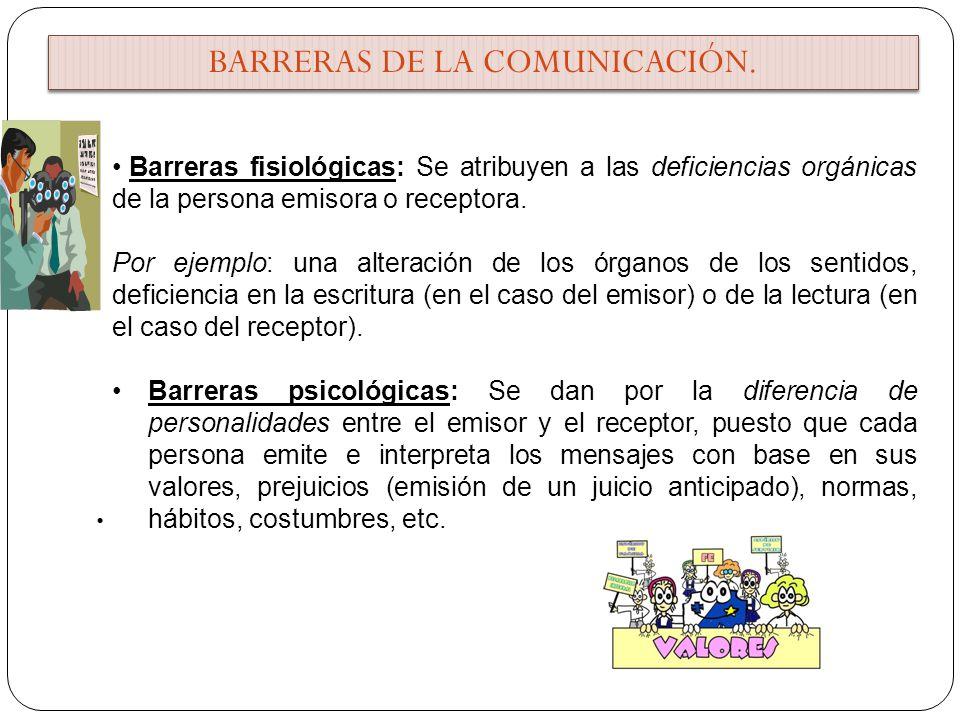 Barreras fisiológicas: Se atribuyen a las deficiencias orgánicas de la persona emisora o receptora. Por ejemplo: una alteración de los órganos de los