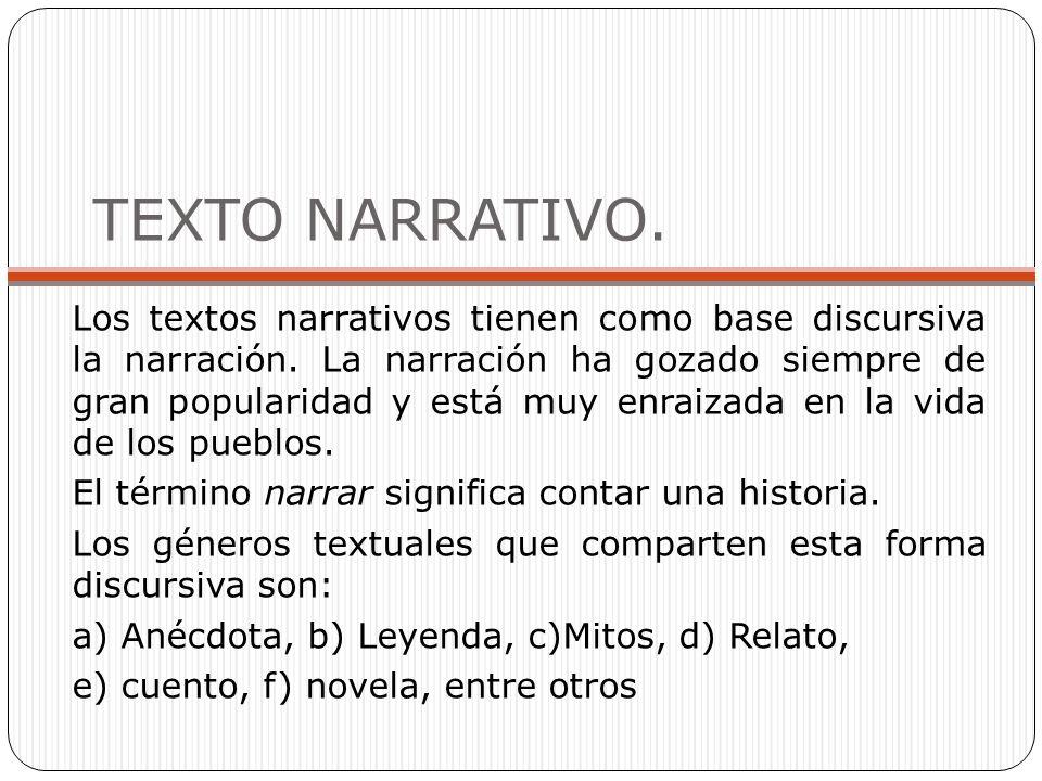 TEXTO NARRATIVO. Los textos narrativos tienen como base discursiva la narración. La narración ha gozado siempre de gran popularidad y está muy enraiza
