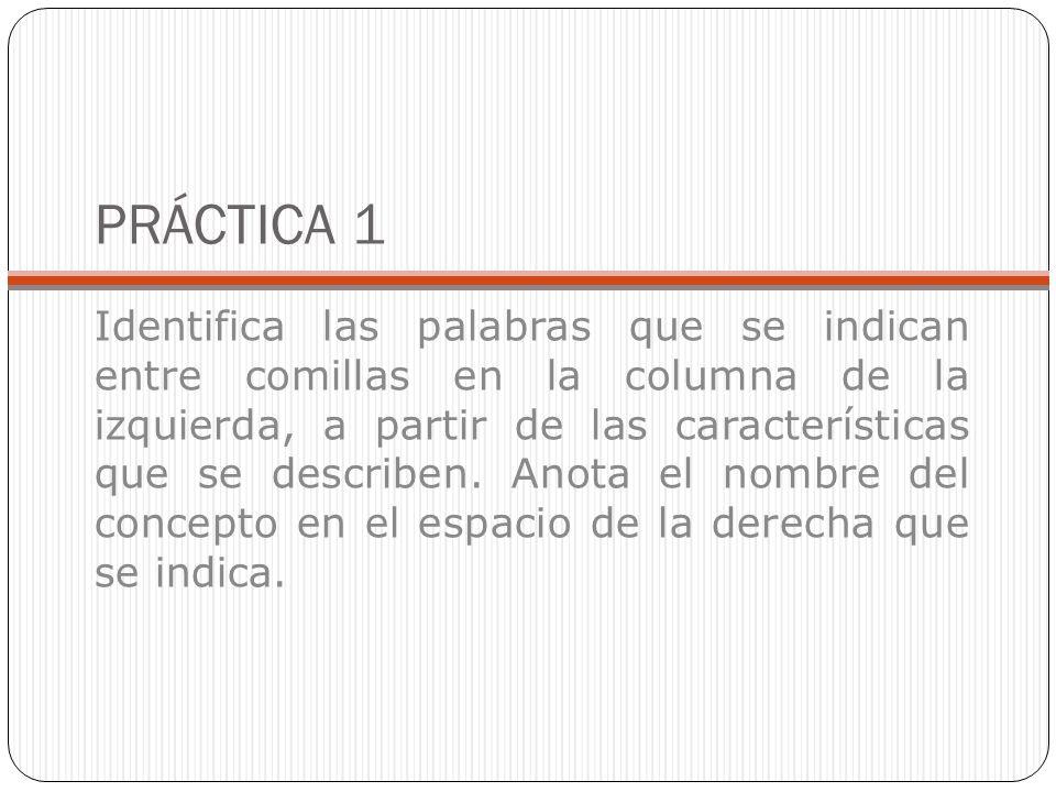 PRÁCTICA 1 Identifica las palabras que se indican entre comillas en la columna de la izquierda, a partir de las características que se describen. Anot