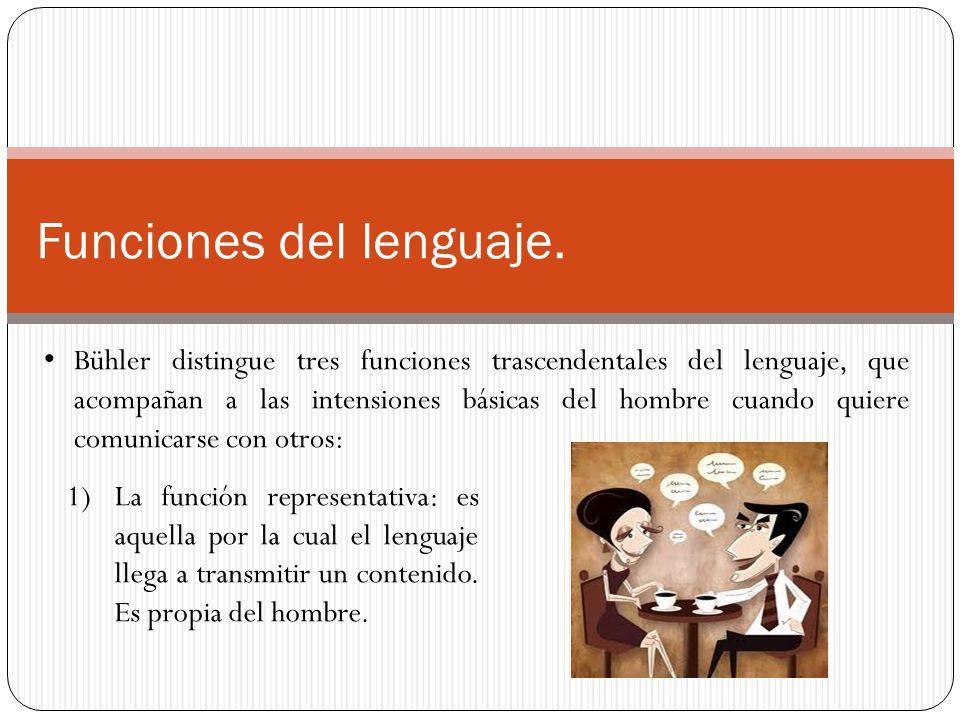 Funciones del lenguaje. Bühler distingue tres funciones trascendentales del lenguaje, que acompañan a las intensiones básicas del hombre cuando quiere