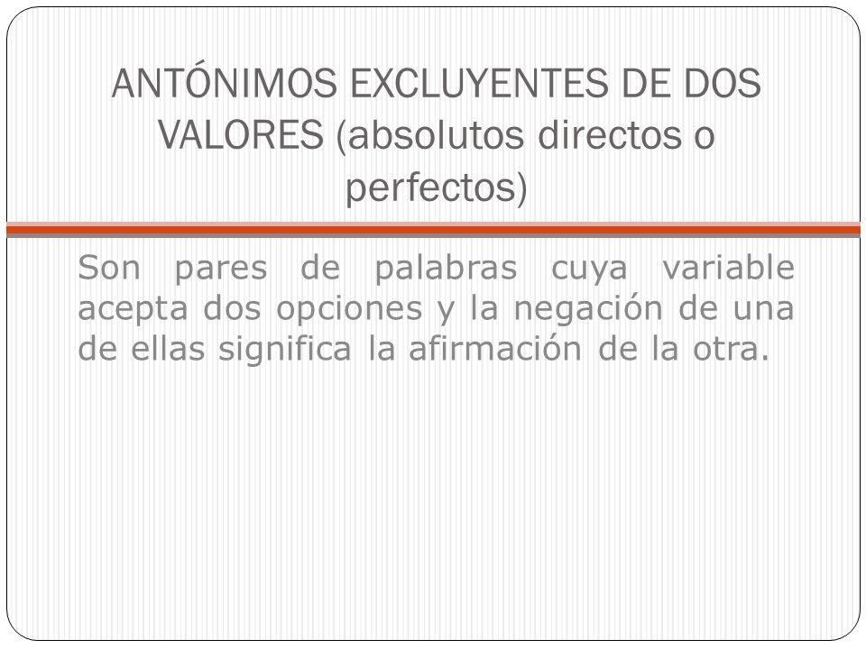 ANTÓNIMOS EXCLUYENTES DE DOS VALORES (absolutos directos o perfectos) Son pares de palabras cuya variable acepta dos opciones y la negación de una de
