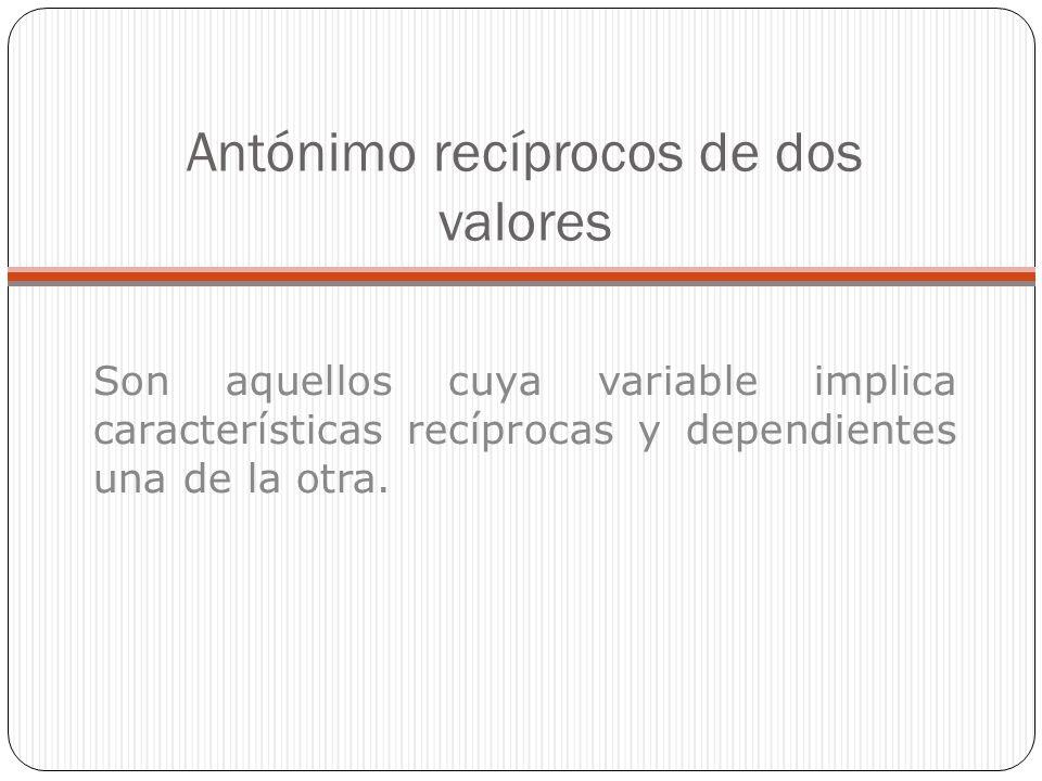 Antónimo recíprocos de dos valores Son aquellos cuya variable implica características recíprocas y dependientes una de la otra.