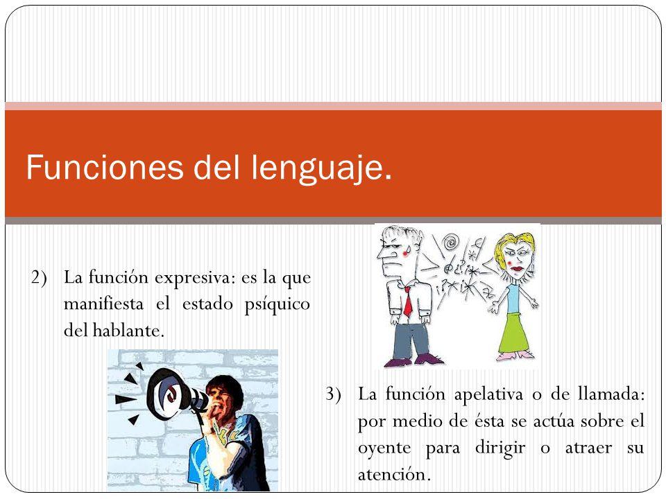 Funciones del lenguaje. 2)La función expresiva: es la que manifiesta el estado psíquico del hablante. 3)La función apelativa o de llamada: por medio d