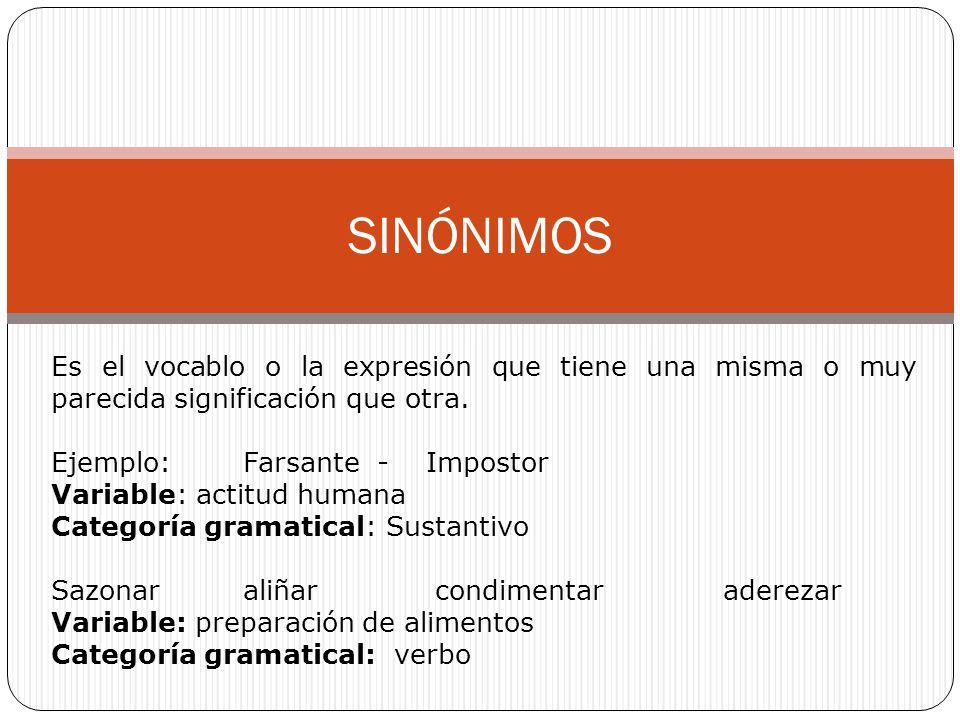 SINÓNIMOS Es el vocablo o la expresión que tiene una misma o muy parecida significación que otra. Ejemplo:Farsante - Impostor Variable: actitud humana