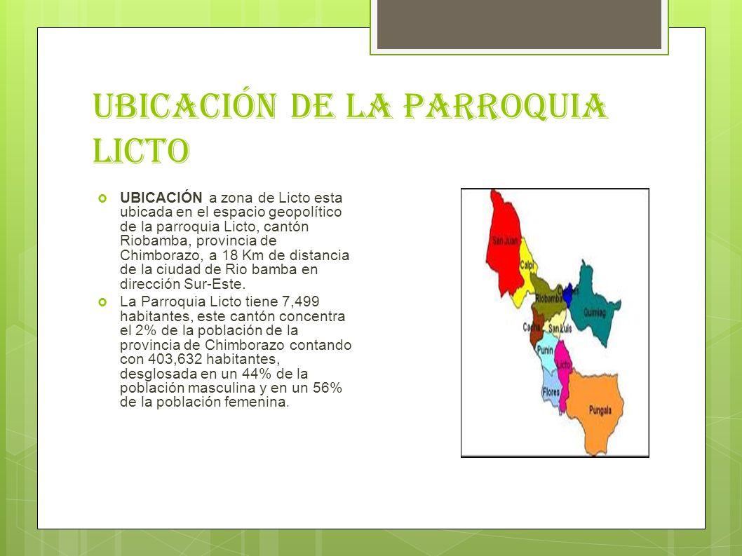 Ubicación de la parroquia licto UBICACIÓN a zona de Licto esta ubicada en el espacio geopolítico de la parroquia Licto, cantón Riobamba, provincia de