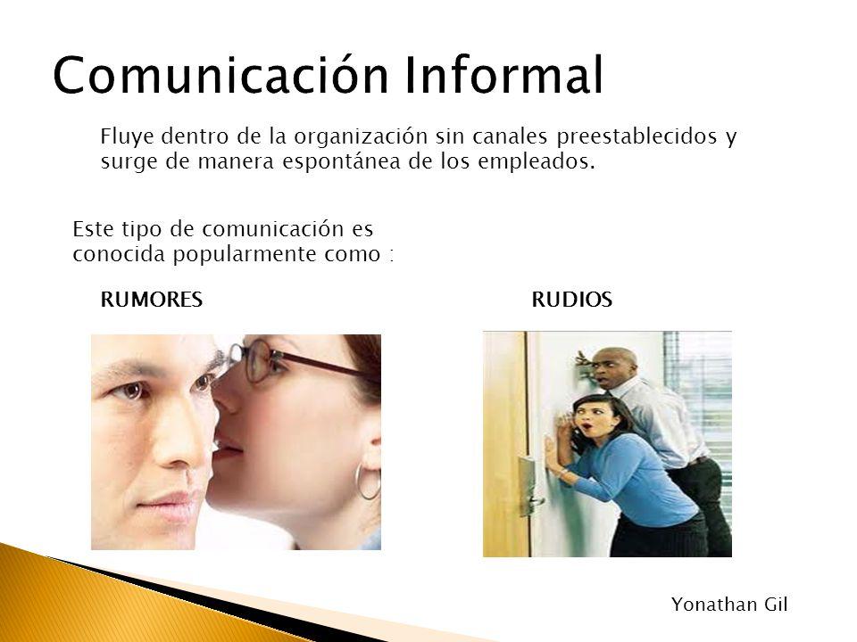 Fluye dentro de la organización sin canales preestablecidos y surge de manera espontánea de los empleados. Este tipo de comunicación es conocida popul