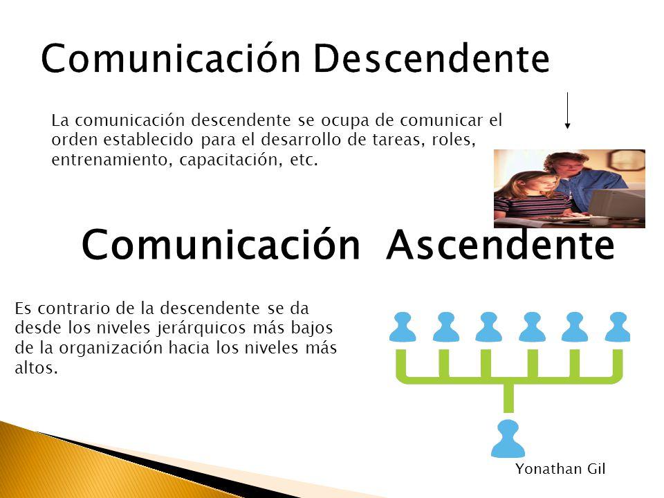 La comunicación descendente se ocupa de comunicar el orden establecido para el desarrollo de tareas, roles, entrenamiento, capacitación, etc. Es contr