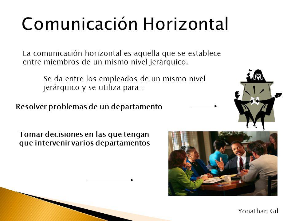 La comunicación horizontal es aquella que se establece entre miembros de un mismo nivel jerárquico. Se da entre los empleados de un mismo nivel jerárq